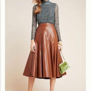 Anthro Maeve Mariana Faux Leather Midi Skirt